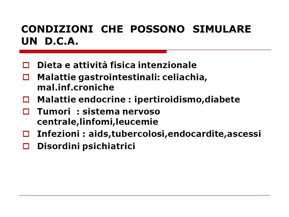 CONDIZIONI CHE POSSONO SIMULARE UN D.C.A.  Dieta e attività fisica intenzionale  Malattie gastrointestinali: celiachia, mal.inf.croniche  Malattie