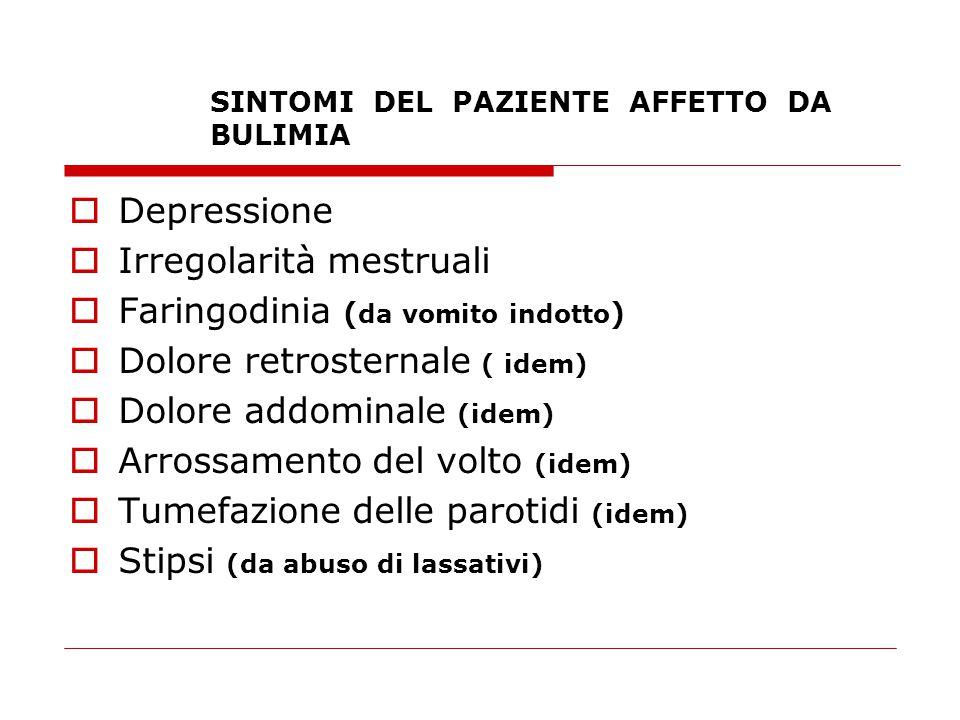 SINTOMI DEL PAZIENTE AFFETTO DA BULIMIA  Depressione  Irregolarità mestruali  Faringodinia ( da vomito indotto )  Dolore retrosternale ( idem)  D