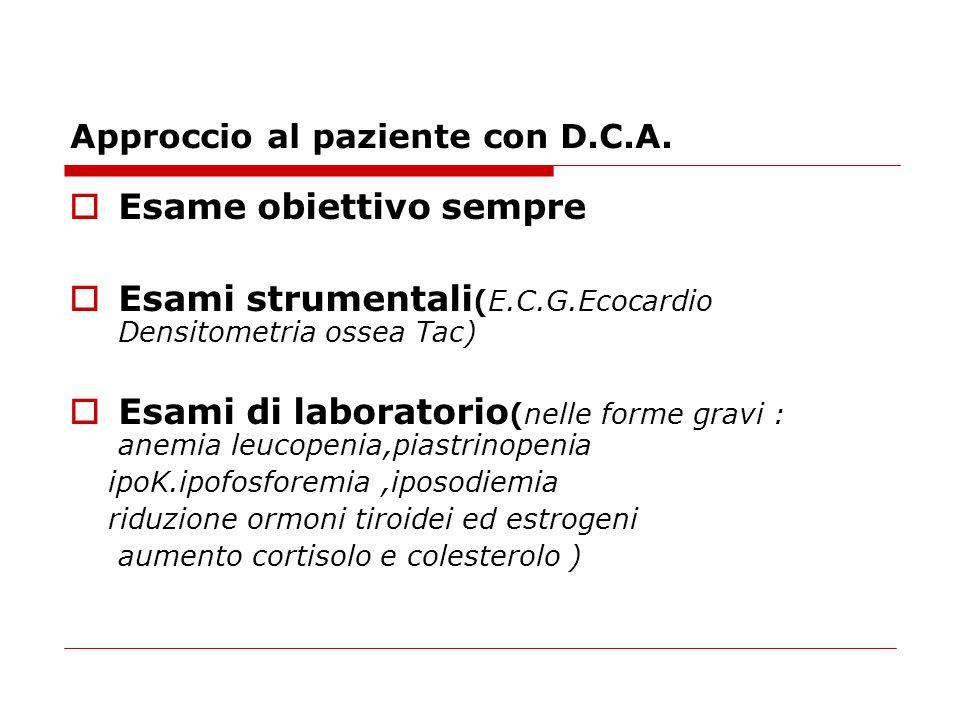 Approccio al paziente con D.C.A.  Esame obiettivo sempre  Esami strumentali (E.C.G.Ecocardio Densitometria ossea Tac)  Esami di laboratorio (nelle