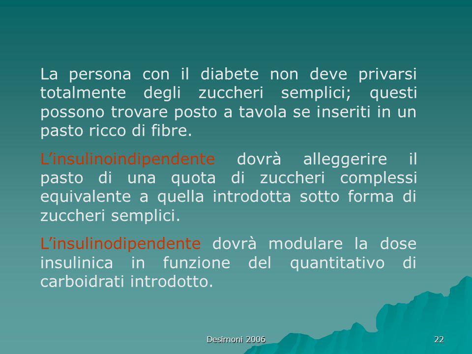 Desimoni 2006 22 La persona con il diabete non deve privarsi totalmente degli zuccheri semplici; questi possono trovare posto a tavola se inseriti in