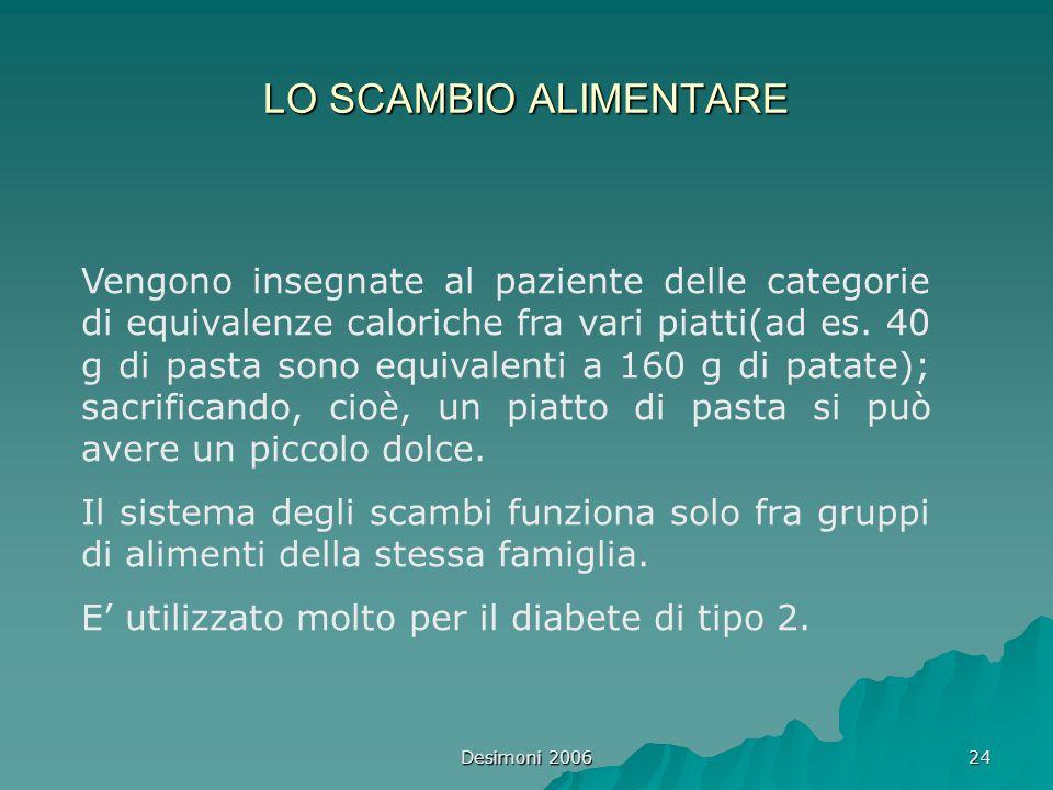 Desimoni 2006 24 LO SCAMBIO ALIMENTARE Vengono insegnate al paziente delle categorie di equivalenze caloriche fra vari piatti(ad es. 40 g di pasta son