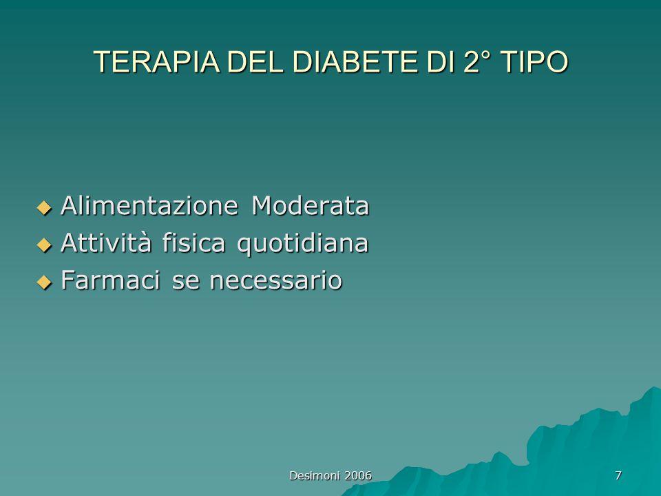 7 TERAPIA DEL DIABETE DI 2° TIPO  Alimentazione Moderata  Attività fisica quotidiana  Farmaci se necessario