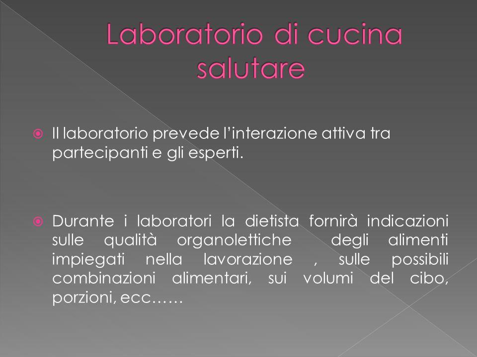  Il laboratorio prevede l'interazione attiva tra partecipanti e gli esperti.