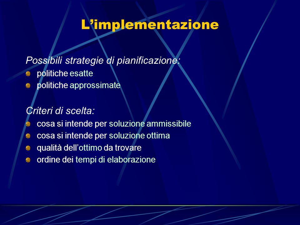 L'implementazione Possibili strategie di pianificazione: politiche esatte politiche approssimate Criteri di scelta: cosa si intende per soluzione ammissibile cosa si intende per soluzione ottima qualità dell'ottimo da trovare ordine dei tempi di elaborazione