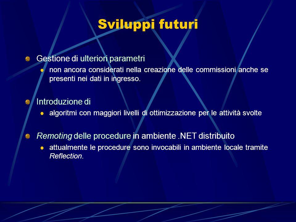 Sviluppi futuri Gestione di ulteriori parametri non ancora considerati nella creazione delle commissioni anche se presenti nei dati in ingresso.