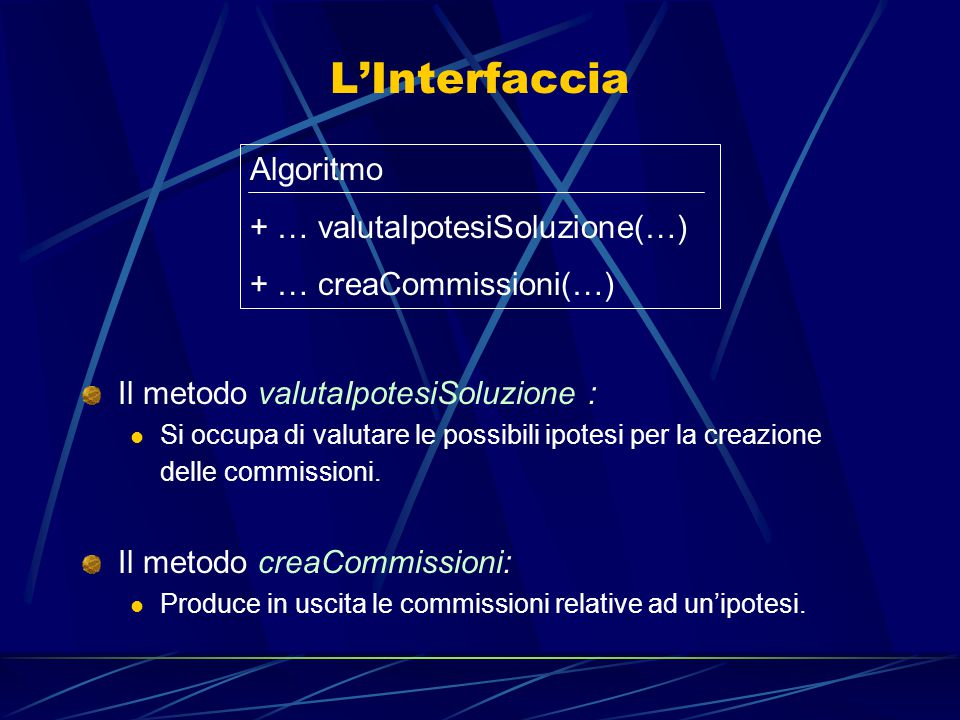 L'Interfaccia Il metodo valutaIpotesiSoluzione : Si occupa di valutare le possibili ipotesi per la creazione delle commissioni.