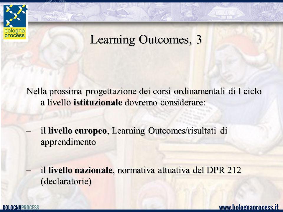 Learning Outcomes, 3 Nella prossima progettazione dei corsi ordinamentali di I ciclo a livello istituzionale dovremo considerare: –il livello europeo, Learning Outcomes/risultati di apprendimento –il livello nazionale, normativa attuativa del DPR 212 (declaratorie)
