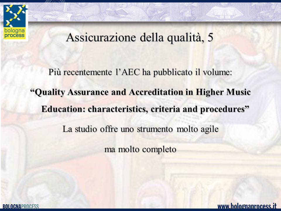 Assicurazione della qualità, 5 Più recentemente l'AEC ha pubblicato il volume: Quality Assurance and Accreditation in Higher Music Education: characteristics, criteria and procedures La studio offre uno strumento molto agile ma molto completo