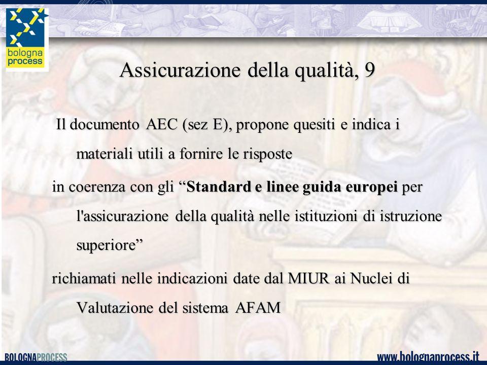 Assicurazione della qualità, 9 Il documento AEC (sez E), propone quesiti e indica i materiali utili a fornire le risposte Il documento AEC (sez E), propone quesiti e indica i materiali utili a fornire le risposte in coerenza con gli Standard e linee guida europei per l assicurazione della qualità nelle istituzioni di istruzione superiore richiamati nelle indicazioni date dal MIUR ai Nuclei di Valutazione del sistema AFAM