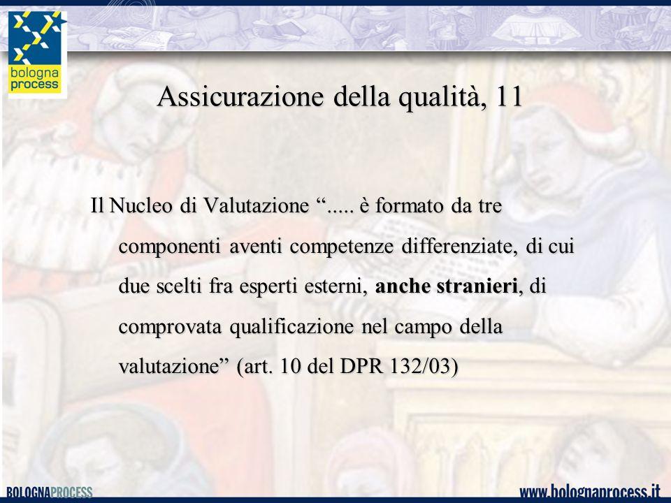 Assicurazione della qualità, 11 Il Nucleo di Valutazione .....
