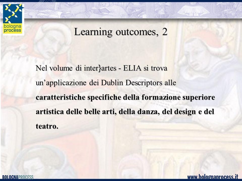 Learning outcomes, 2 Nel volume di inter } artes - ELIA si trova un'applicazione dei Dublin Descriptors alle caratteristiche specifiche della formazione superiore artistica delle belle arti, della danza, del design e del teatro.