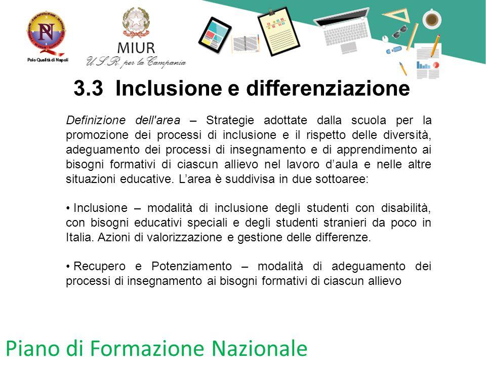 Piano di Formazione Nazionale 3.3 Inclusione e differenziazione Definizione dell'area – Strategie adottate dalla scuola per la promozione dei processi