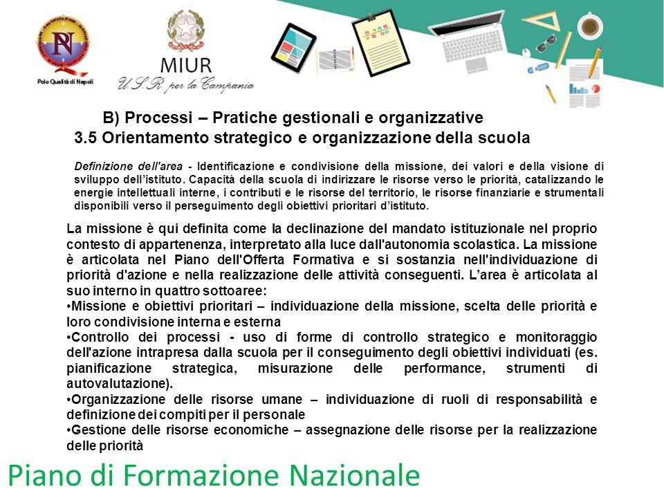 Piano di Formazione Nazionale B) Processi – Pratiche gestionali e organizzative 3.5 Orientamento strategico e organizzazione della scuola Definizione