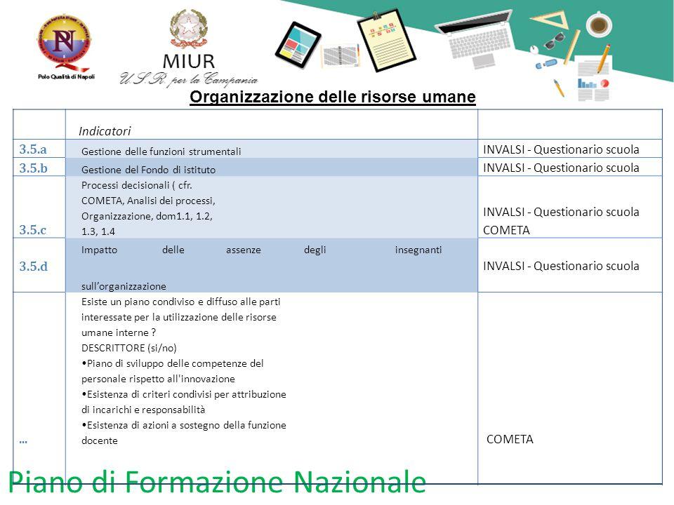 Piano di Formazione Nazionale Organizzazione delle risorse umane Indicatori 3.5.a Gestione delle funzioni strumentali INVALSI - Questionario scuola 3.