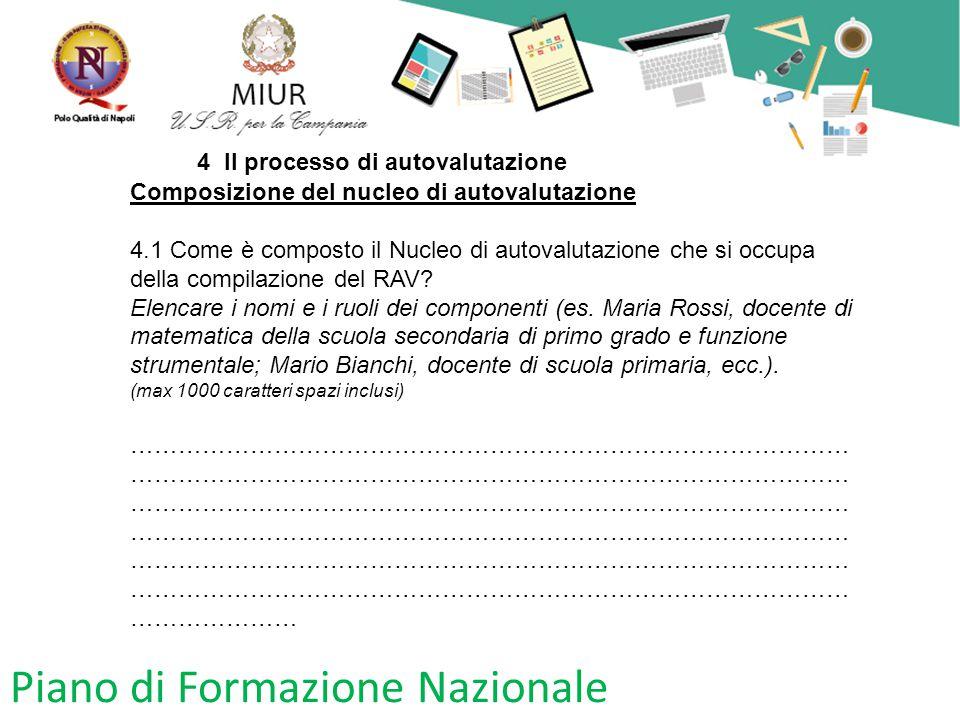 Piano di Formazione Nazionale 4 Il processo di autovalutazione Composizione del nucleo di autovalutazione 4.1 Come è composto il Nucleo di autovalutaz