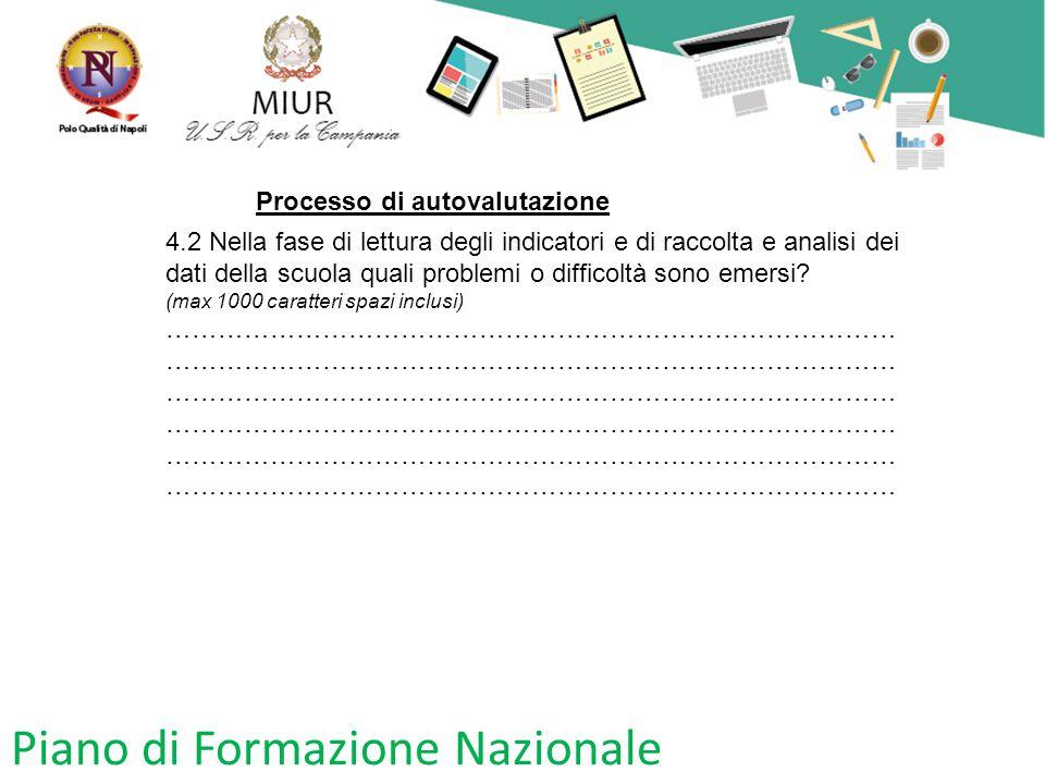 Piano di Formazione Nazionale Processo di autovalutazione 4.2 Nella fase di lettura degli indicatori e di raccolta e analisi dei dati della scuola qua