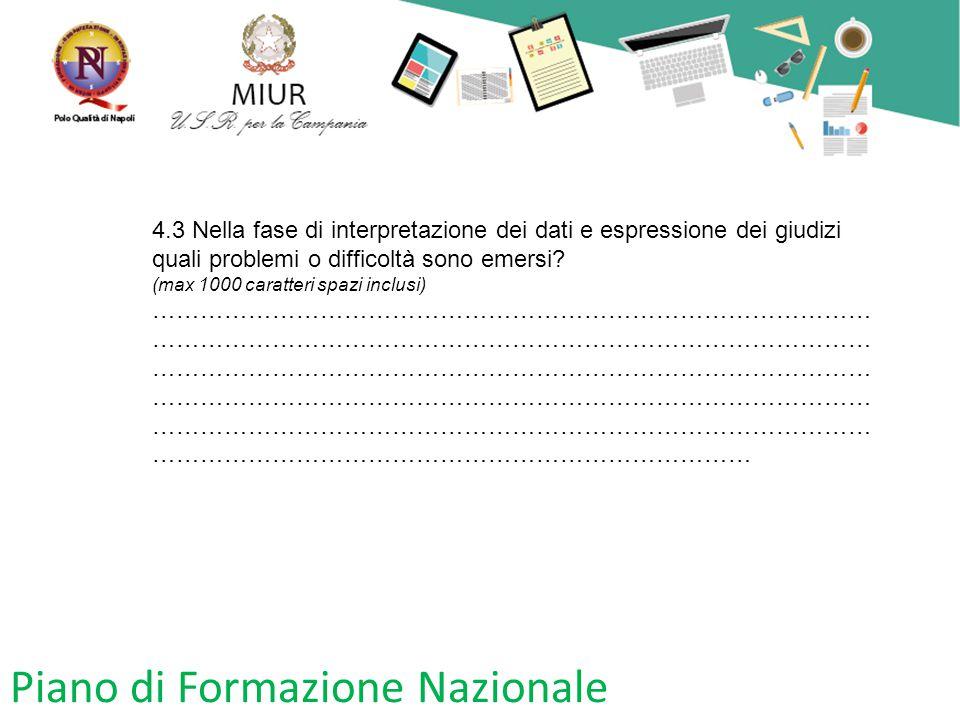 Piano di Formazione Nazionale 4.3 Nella fase di interpretazione dei dati e espressione dei giudizi quali problemi o difficoltà sono emersi? (max 1000