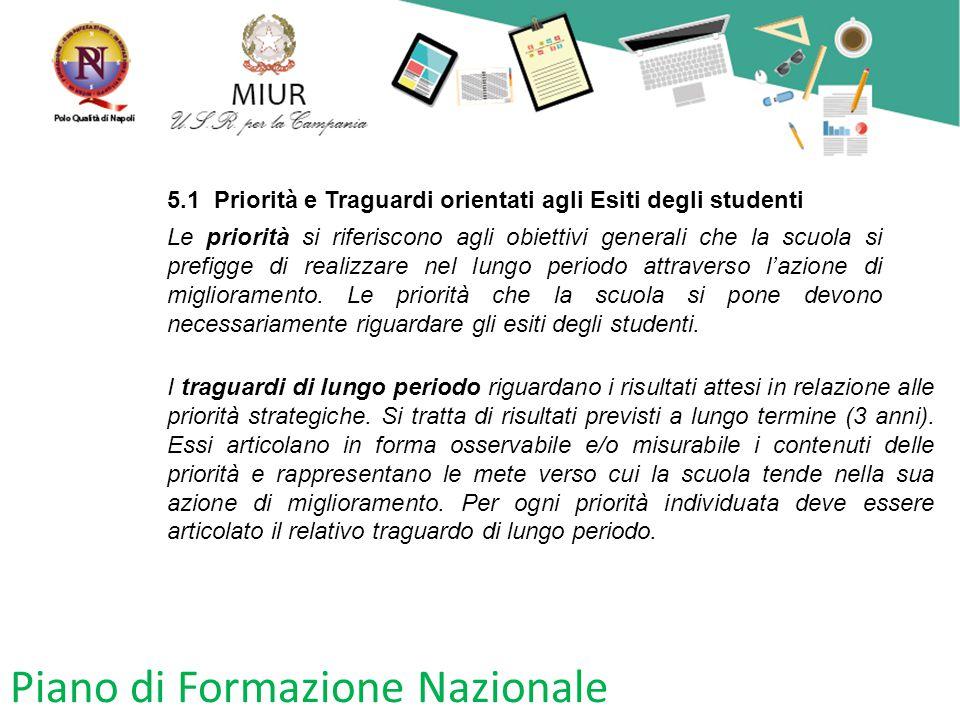 Piano di Formazione Nazionale 5.1 Priorità e Traguardi orientati agli Esiti degli studenti Le priorità si riferiscono agli obiettivi generali che la s