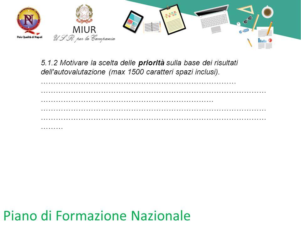 Piano di Formazione Nazionale 5.1.2 Motivare la scelta delle priorità sulla base dei risultati dell'autovalutazione (max 1500 caratteri spazi inclusi)