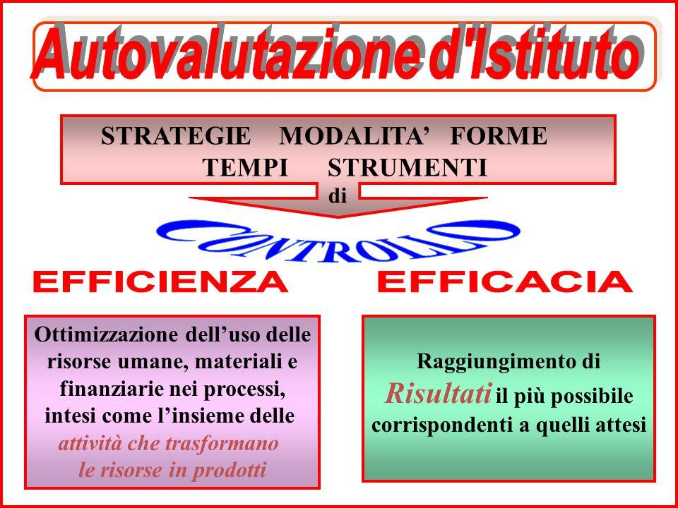 STRATEGIE MODALITA' FORME TEMPI STRUMENTI di Ottimizzazione dell'uso delle risorse umane, materiali e finanziarie nei processi, intesi come l'insieme