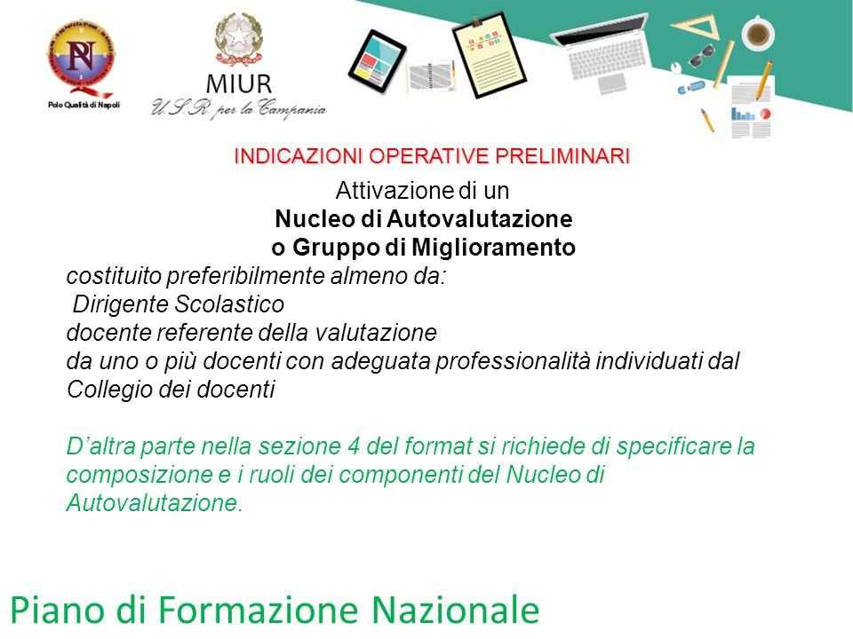 Piano di Formazione Nazionale INDICAZIONI OPERATIVE PRELIMINARI Attivazione di un Nucleo di Autovalutazione o Gruppo di Miglioramento costituito prefe