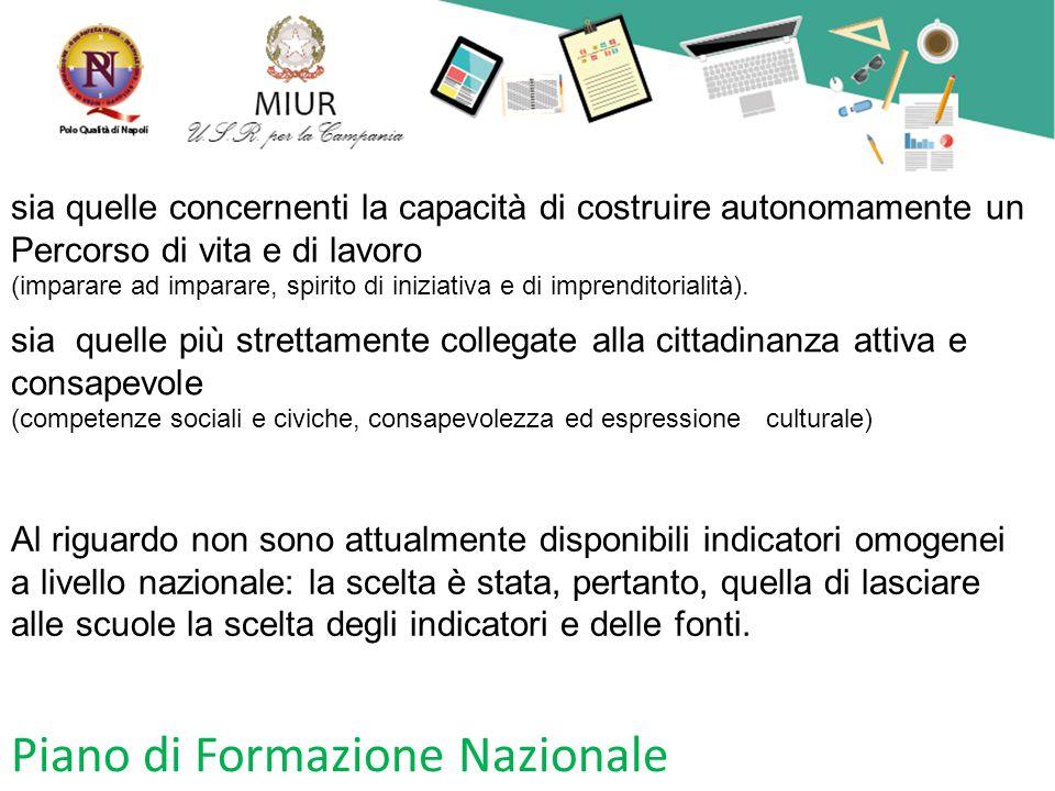 Piano di Formazione Nazionale sia quelle più strettamente collegate alla cittadinanza attiva e consapevole (competenze sociali e civiche, consapevolez