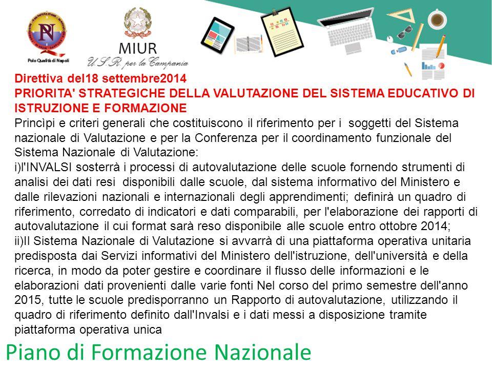Piano di Formazione Nazionale Direttiva del18 settembre2014 PRIORITA' STRATEGICHE DELLA VALUTAZIONE DEL SISTEMA EDUCATIVO DI ISTRUZIONE E FORMAZIONE P