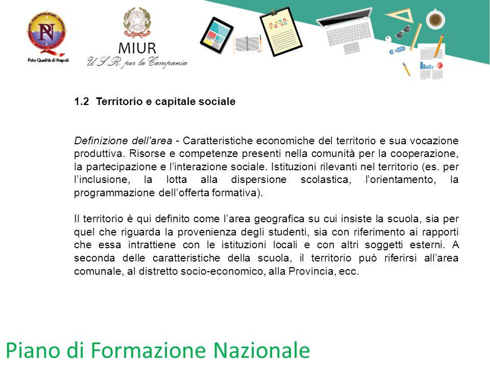 Piano di Formazione Nazionale 1.2 Territorio e capitale sociale Definizione dell'area - Caratteristiche economiche del territorio e sua vocazione prod