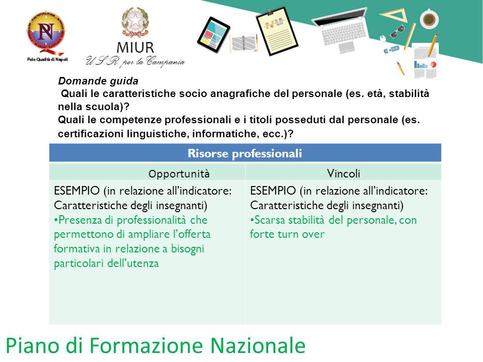 Piano di Formazione Nazionale Domande guida Quali le caratteristiche socio anagrafiche del personale (es. età, stabilità nella scuola)? Quali le compe