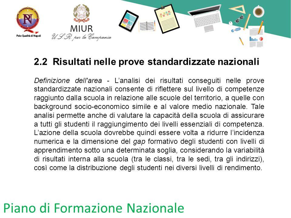 Piano di Formazione Nazionale 2.2 Risultati nelle prove standardizzate nazionali Definizione dell'area - L'analisi dei risultati conseguiti nelle prov