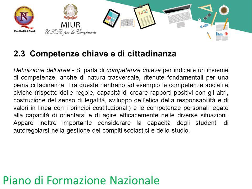 Piano di Formazione Nazionale 2.3 Competenze chiave e di cittadinanza Definizione dell'area - Si parla di competenze chiave per indicare un insieme di