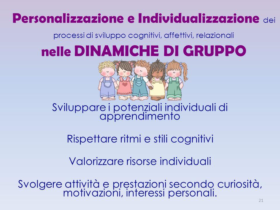 Personalizzazione e Individualizzazione dei processi di sviluppo cognitivi, affettivi, relazionali nelle DINAMICHE DI GRUPPO Sviluppare i potenziali i