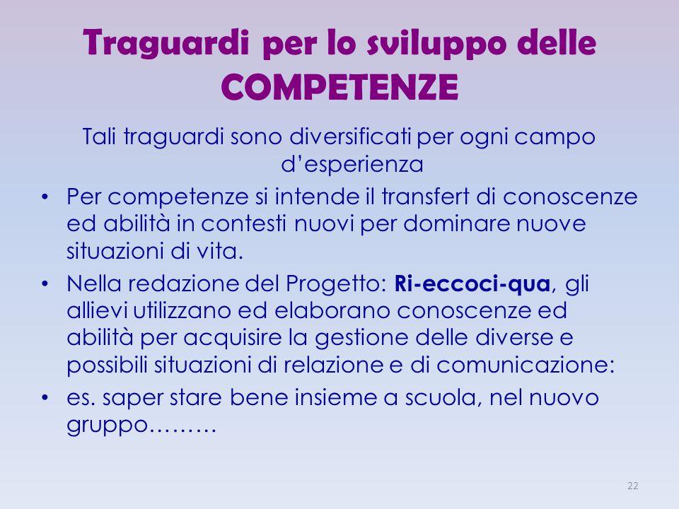 Traguardi per lo sviluppo delle COMPETENZE Tali traguardi sono diversificati per ogni campo d'esperienza Per competenze si intende il transfert di con