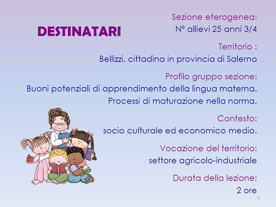 DESTINATARI Sezione eterogenea: N° allievi 25 anni 3/4 Territorio : Bellizzi, cittadina in provincia di Salerno Profilo gruppo sezione: Buoni potenzia