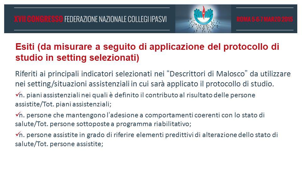"""Esiti (da misurare a seguito di applicazione del protocollo di studio in setting selezionati) Riferiti ai principali indicatori selezionati nei """"Descr"""