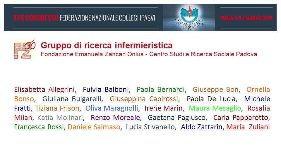 Gruppo di ricerca infermieristica Fondazione Emanuela Zancan Onlus - Centro Studi e Ricerca Sociale Padova Elisabetta Allegrini, Fulvia Balboni, Paola
