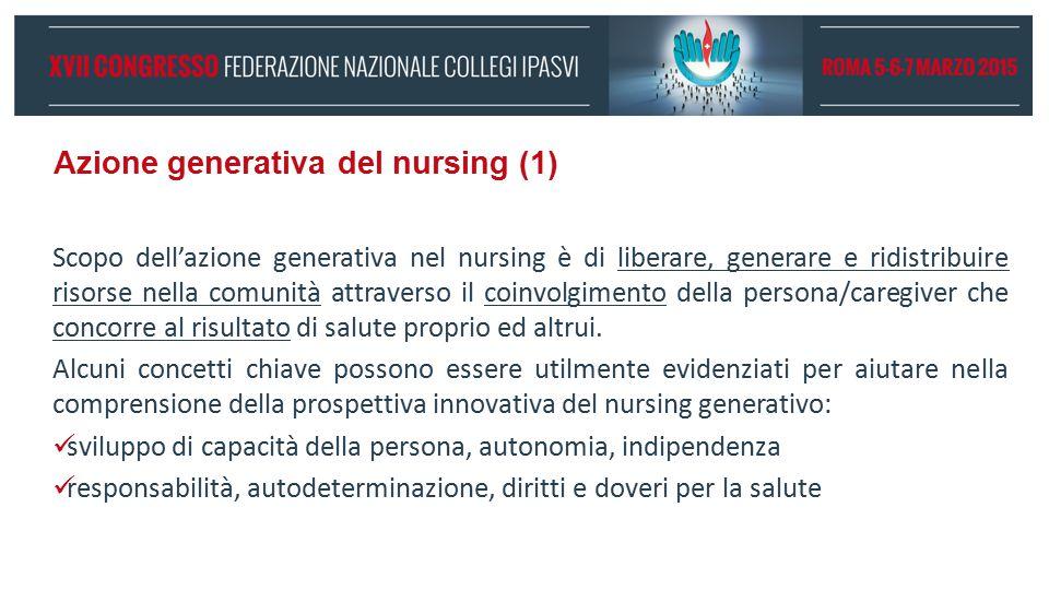 Azione generativa del nursing (1) Scopo dell'azione generativa nel nursing è di liberare, generare e ridistribuire risorse nella comunità attraverso i