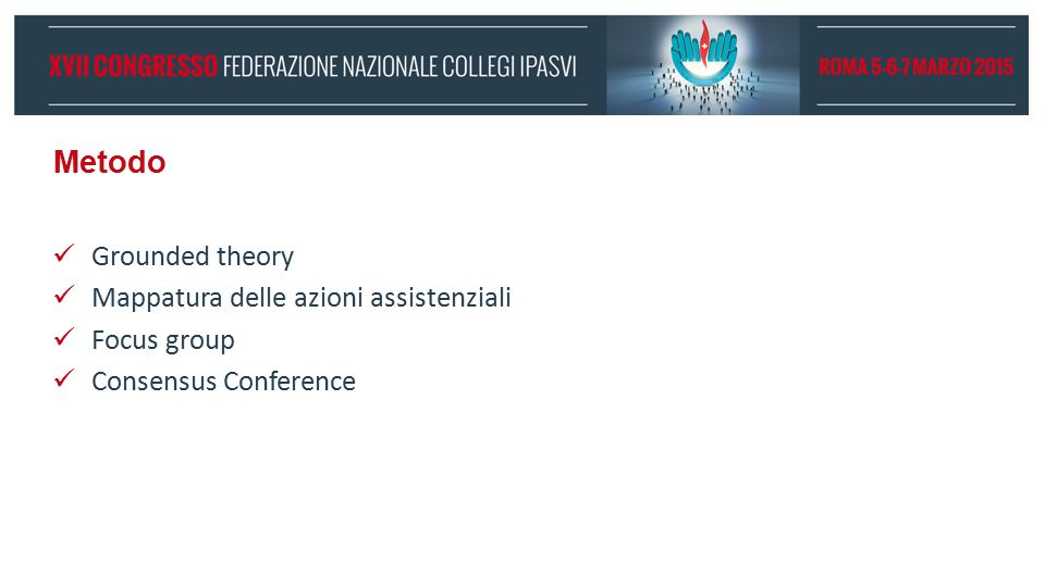 Metodo Grounded theory Mappatura delle azioni assistenziali Focus group Consensus Conference