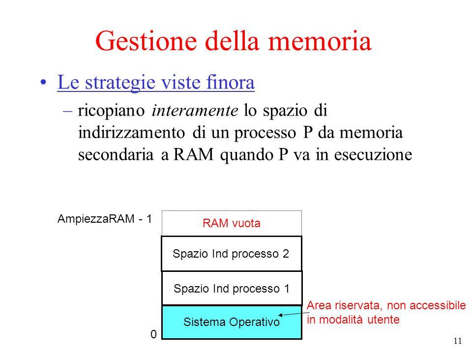 11 Gestione della memoria Le strategie viste finora –ricopiano interamente lo spazio di indirizzamento di un processo P da memoria secondaria a RAM quando P va in esecuzione Sistema Operativo Spazio Ind processo 1 Area riservata, non accessibile in modalità utente 0 AmpiezzaRAM - 1 Spazio Ind processo 2 RAM vuota