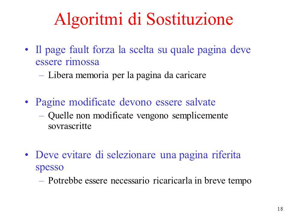 18 Algoritmi di Sostituzione Il page fault forza la scelta su quale pagina deve essere rimossa –Libera memoria per la pagina da caricare Pagine modifi