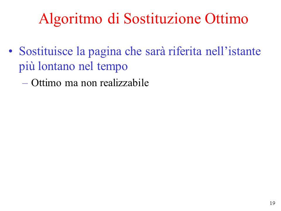 19 Algoritmo di Sostituzione Ottimo Sostituisce la pagina che sarà riferita nell'istante più lontano nel tempo –Ottimo ma non realizzabile
