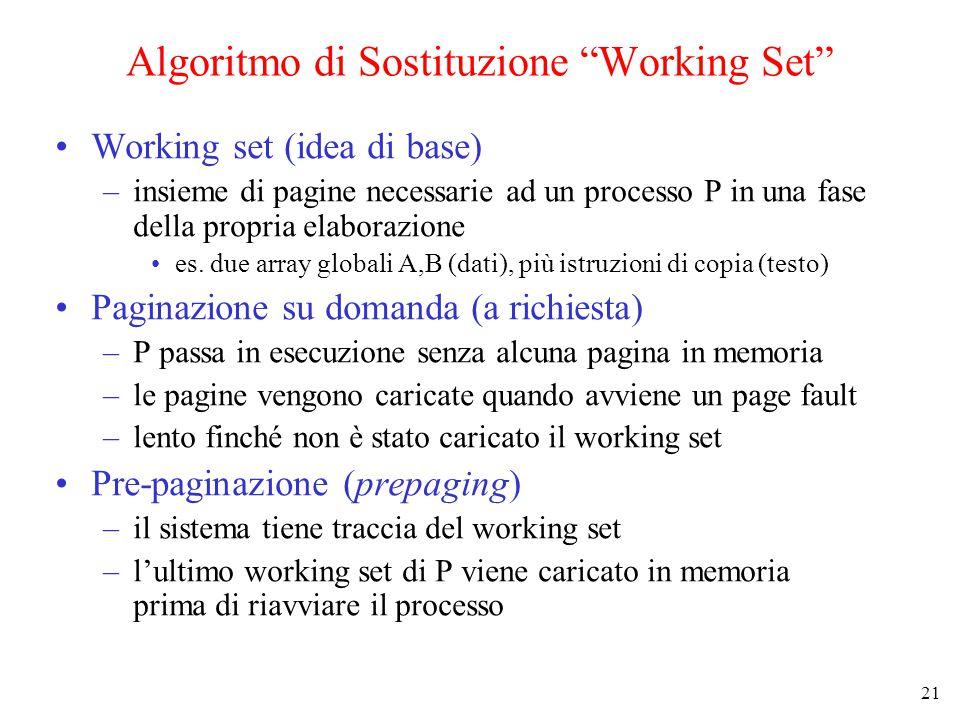 21 Algoritmo di Sostituzione Working Set Working set (idea di base) –insieme di pagine necessarie ad un processo P in una fase della propria elaborazione es.