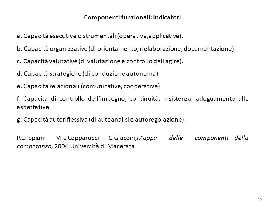 12 a. Capacità esecutive o strumentali (operative,applicative). b. Capacità organizzative (di orientamento, rielaborazione, documentazione). c. Capaci