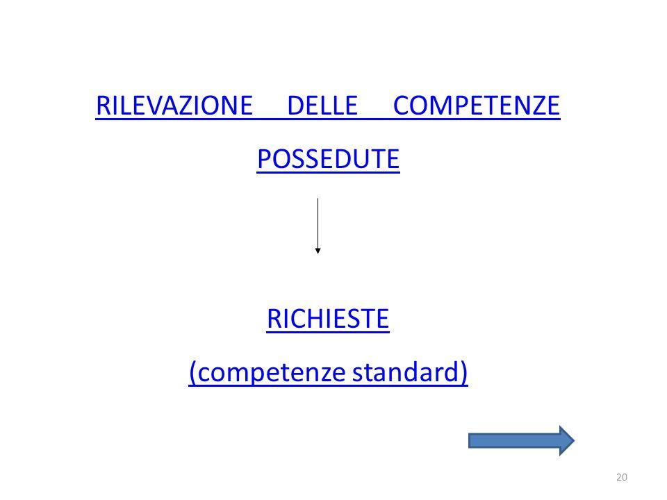 20 RILEVAZIONE DELLE COMPETENZE POSSEDUTE RICHIESTE (competenze standard)