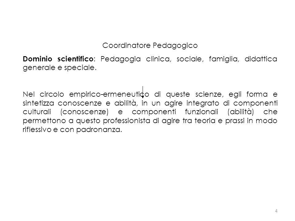 4 Coordinatore Pedagogico Dominio scientifico : Pedagogia clinica, sociale, famiglia, didattica generale e speciale. Nel circolo empirico-ermeneutico