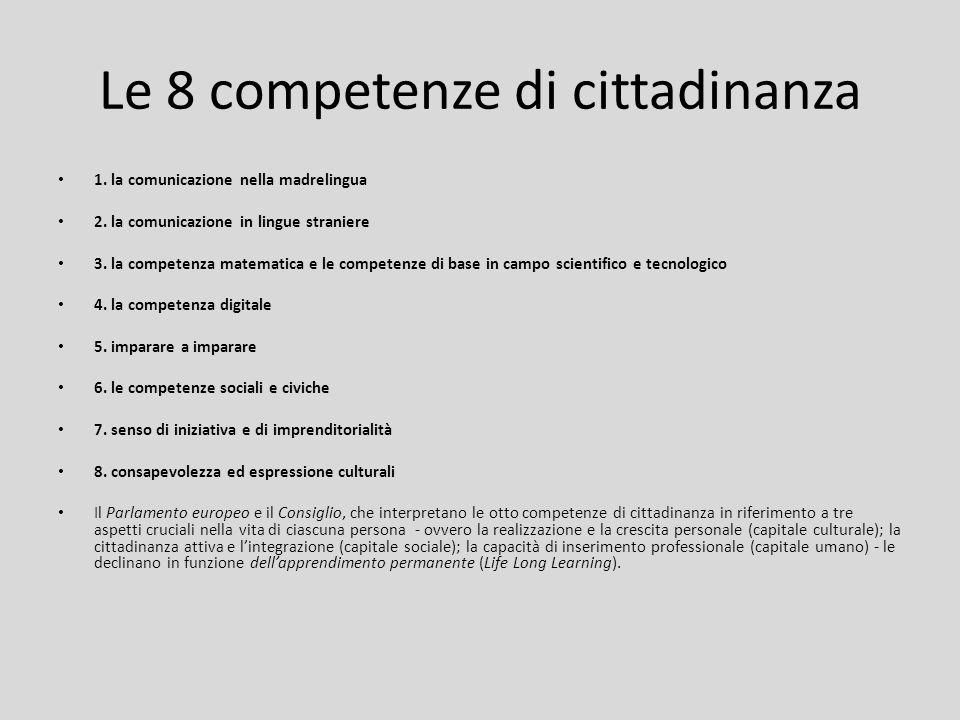 Le 8 competenze di cittadinanza 1. la comunicazione nella madrelingua 2. la comunicazione in lingue straniere 3. la competenza matematica e le compete