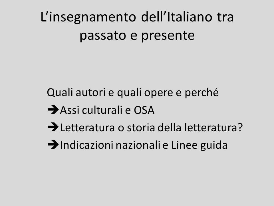 L'insegnamento dell'Italiano tra passato e presente Quali autori e quali opere e perché  Assi culturali e OSA  Letteratura o storia della letteratur