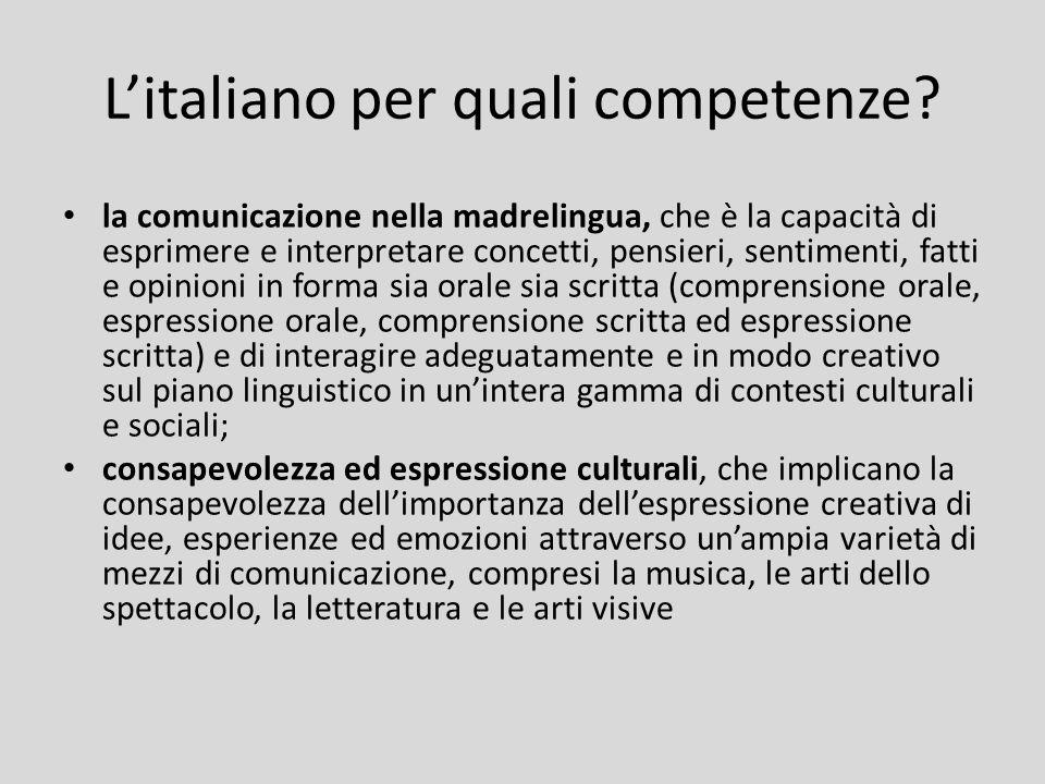 L'italiano per quali competenze? la comunicazione nella madrelingua, che è la capacità di esprimere e interpretare concetti, pensieri, sentimenti, fat