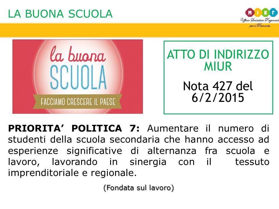Ufficio Scolastico Regionale per il Piemonte LA BUONA SCUOLA PRIORITA' POLITICA 7: Aumentare il numero di studenti della scuola secondaria che hanno a