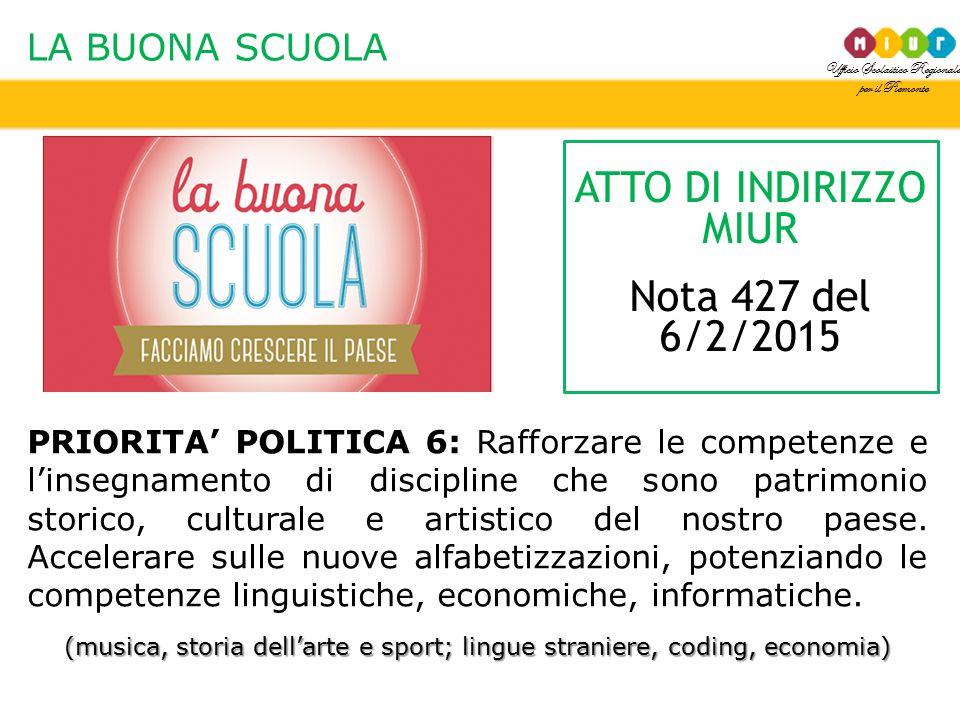 Ufficio Scolastico Regionale per il Piemonte LA BUONA SCUOLA PRIORITA' POLITICA 6: Rafforzare le competenze e l'insegnamento di discipline che sono pa